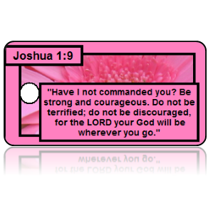 Joshua 1:9 Bible Scripture Pink Key Tags