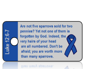 Colon Cancer Ribbon - Luke 12 vs 6 and 7 - Blue on Gray Background