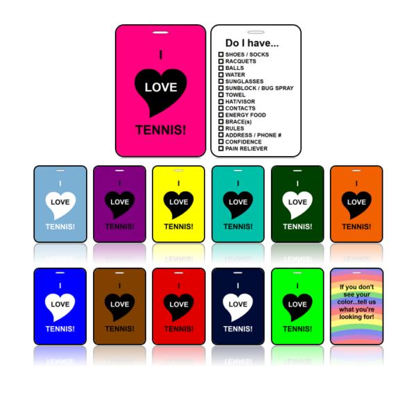 Sports Club Bag Tags Tennis Choose Colors