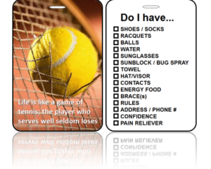 Sports Bag Tags Tennis Game