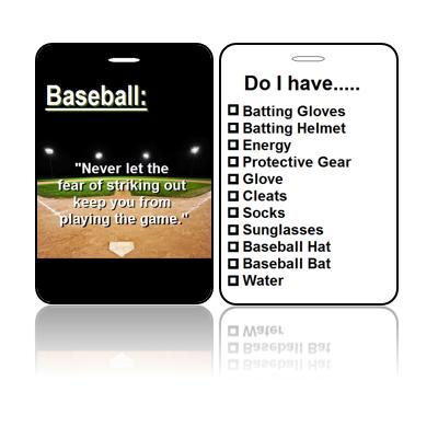 Sports Bag Tags Baseball Never Fear