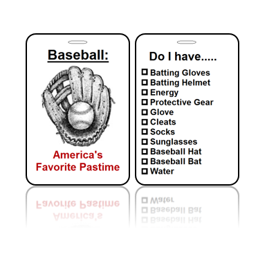Sports Bag Tags Baseball America Pastime