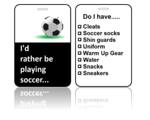 Sports Bag Tag Play Soccer