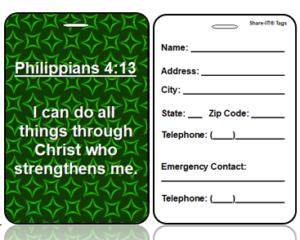 Motivational Philippians 4:13 Bag Tags