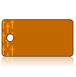 Create Design Key Tags Brown Background Orange Cross Border