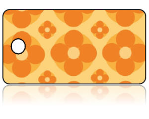 Create Design Key Tags Orange Yellow Modern Flower Pattern