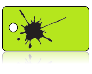 Create Design Key Tags Black Paint Splat Lime Green Background