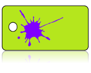 Create Design Key Tags Purple Paint Splat Lime Green Background