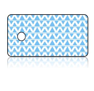 Create Design Key Tags Baby Blue Zig Zag Pattern
