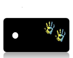 Create Design Key Tags Yellow Blue Hand Print Black Background