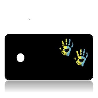 Create Design Key Tags Yellow Blue Hand Print Black Background