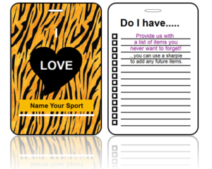 Create Design Bag Tags Sport Tiger Print