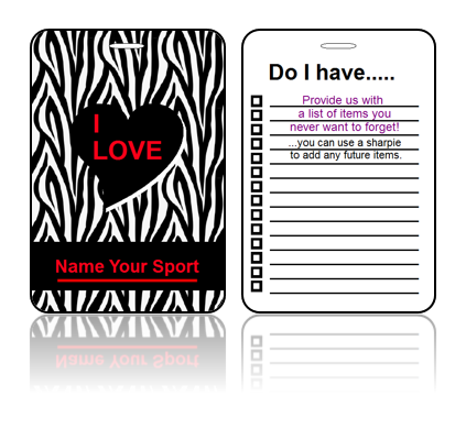 Create Design Bag Tags Sport Zebra Print Design