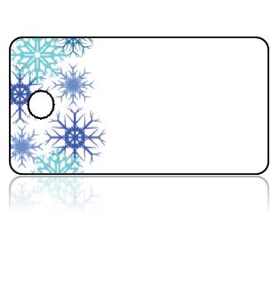 Create Design Key Tags Blue Snowflake Border