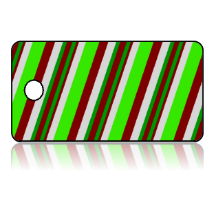 Create Design Key Tags Green Red White Slanted Stripes