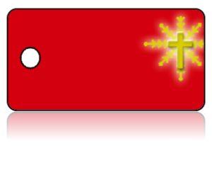 Create Design Key Tags Red Background Bright Gold Cross