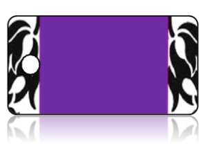Create Design Key Tags Purple Black White Damask