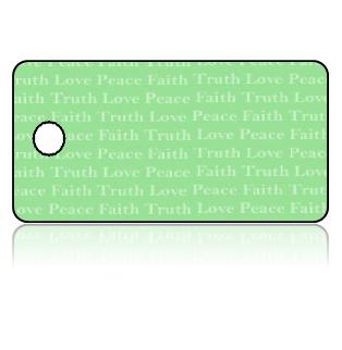 Create Design Key Tags Green Love Peace Faith Truth