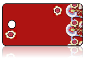 Create Design Key Tags Red Background Flowers Border