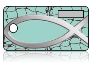Create Design Key Tags Blue Fish Net