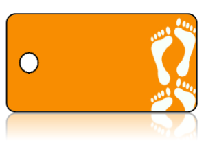Create Design Key Tags Orange Background White Foot Prints