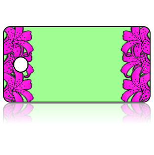 Create Design Key Tags Pink Lilly Flowers Spring Green Background