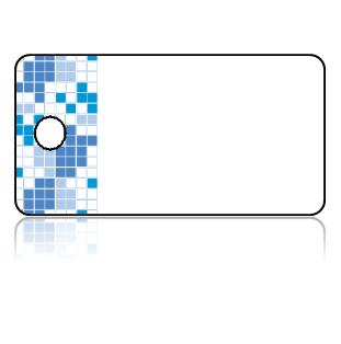 Create Design Key Tags Blue Squares Logical Pattern Border