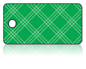 Create Design Key Tags Lime Green Plaid Pattern
