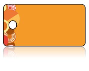 Create Design Key Tags Orange Retro Circles Pattern