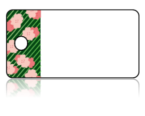 Create Design Key Tags Pink Cherry Blossoms Modern Green Border
