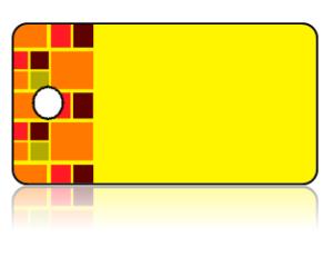 Create Design Key Tags Mosaic Squares Orange Red Yellow Brown