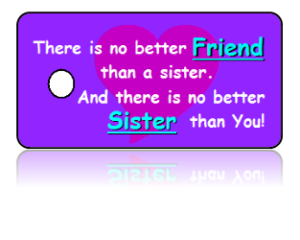 Sisters Celebration Key Tags Purple Design