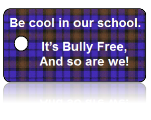 Bully Free Purple Plaid Education Key Tag