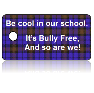Bully Free Purple Plaid Education Key Tags
