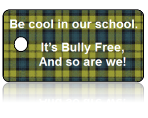 Bully Free Green Plaid Education Key Tags