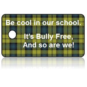 Bully Free Green Plaid Education Key Tags