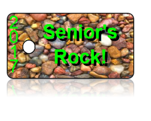 Seniors Rock 2017 Green Letters Key Tags