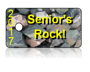 Seniors Rock 2017 Yellow Letters Key Tags