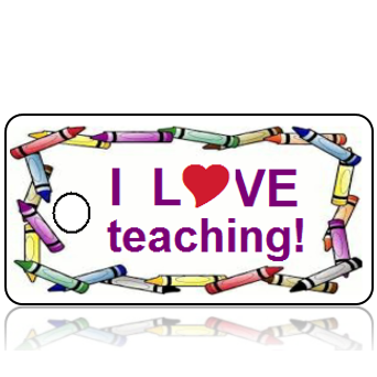 Love Teaching Crayon Design Key Tags