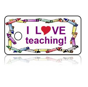 Love Teaching Crayon Design Key Tags