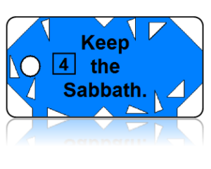 4th Commandment Bible Scripture Blue Key Tags