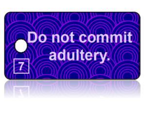 7th Commandment Bible Scripture Purple Key Tags