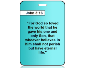 John 3:16 Teal Bag Tags