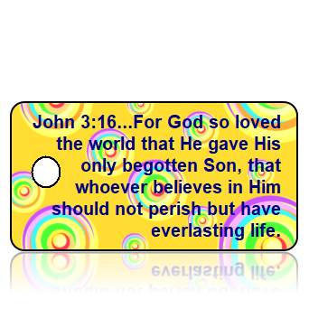 John 3:16 Bible Scripture Yellow Multi Color Retro Circles Key Tags