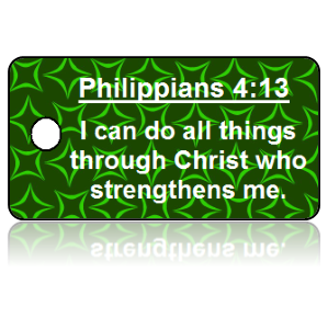 Philippians 4:13 Bible Scripture Green Key Tags