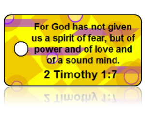 2 Timothy 1:7 Bible Scripture Yellow Key Tags