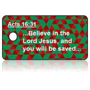 Acts 16:31 Bible Scripture Key Tags Diamond Design