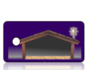 Create Design Key Tags Purple Christmas Manger