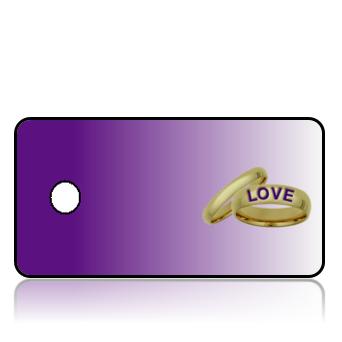 Create Design Key Tags Wedding Rings Purple Background