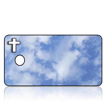 Create Design Key Tags Blue Clouds White Cross